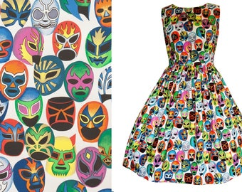 Lucha Libre Masks Cotton Dress Mexican Máscaras de Peleá - Handmade To Order MEASUREMENTS REQUIRED