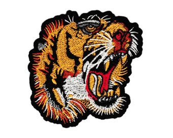Large 10cm Embroidered Roaring Tiger Head Patch Applique