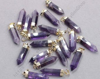 26mm Point Amethyst Pendants -- With Electroplated Gold Edge Gemstone Charms Wholesale Supplies YHA-337