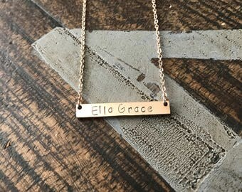 Name Necklace Rose Gold Necklace Bridesmaids Necklace Rose Gold Bar Necklace Initial Necklace Personalized Bar Necklace Engraved Necklace