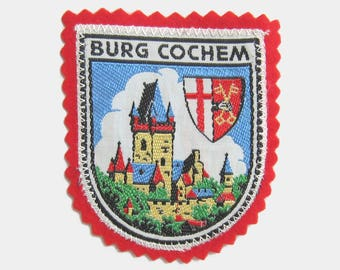 Vintage 1970s Cochem Imperial Castle Fabric Patch - Burg German Germany Kusel Cochem-Zell old red blue green badge souvenir travel 1980s