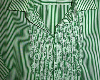 Ralph Lauren Shirt 14, Cotton Ruffled L/S Shirt. Perfect Summer Vintage Find!  see details