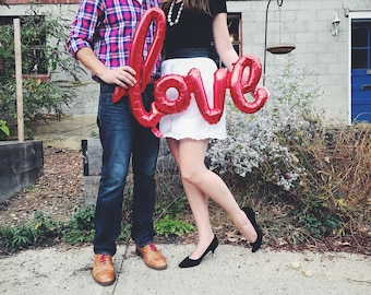 """40"""" LOVE balloon - love balloon red - red love script balloon - engagement party balloons - bridal shower balloons - love decor - red love"""