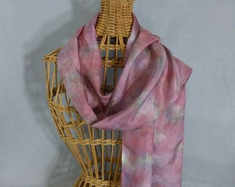 """Silk Scarf """"Rose and Gray Marble"""", Hand Painted Silk Scarf"""