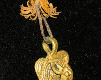 Frog on Lily Pad Primitive Style Brass Pendant Necklace with Leather Cord
