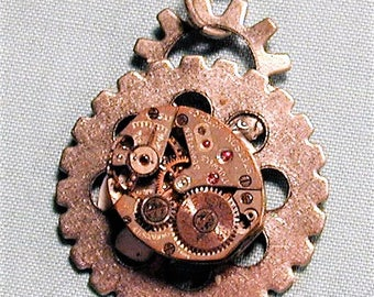 Steampunk Vintage Watch Movement with Gears Pendant with Chain OOAK #34