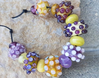 handmade lampwork glass 7 beads set 8 spacer beads lampwork beads sra autumn