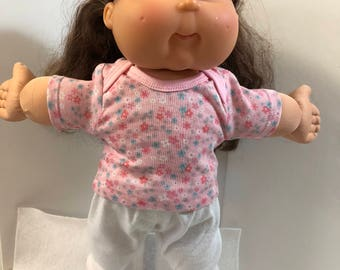 "Cabbage Patch Doll 16 inch KIDS Clothes, Little Pink & Blue ""FLOWERS"" on Pink Top, White Pants, 16 inch Cabbage Patch Doll Clothes"