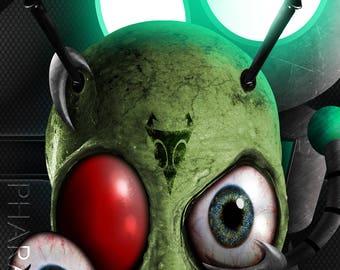Art Print Invader Zim Gir Sci Fi Alien Robot Weird Outer Space Nickelodeon Nicktoons Nostalgia Creepy Artwork Modern Unique Original