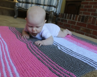 Ready to Ship, Hand Knit Baby Blanket, Knit Baby Blanket, Baby Blanket, Color Block Blanket, Striped Blanket, Striped Baby Blanket