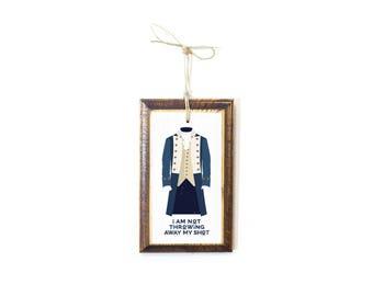 Alexander Hamilton inspired American Revolution soldier colonial dress illustration Christmas ornament not throwing away my shot lyric