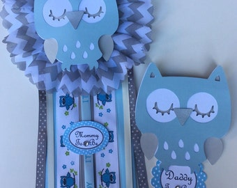 Owl baby shower corsage/ Mon to be corsage/ Owl theme/ Baby shower corsage/light blue and Gray Owl / daddy to be