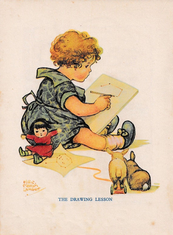 """Children's book illustration by H.G.C. Marsh Lambert, """"The Drawing Lesson"""", published 1950s, book print"""