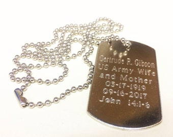 Set of 4, Custom Mens Dog Tag, Military Necklace, Groomsmen Gift, Personalized dog tag necklace, Personalized Holiday gift, gift for him