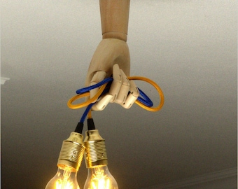 Ceiling Wooden lamp Transformer human hand with a textile-covered cable Human parts art design Wall lamp Loft lighting Art lamp