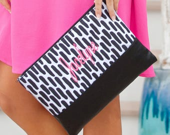 Carolina Night Pouch, Monogrammed Zip Pouch, Zip Pouch with Leather Like Trim, Black and White Pattern