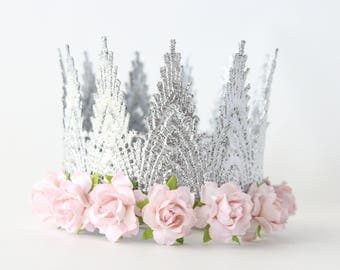 Aspen Silver + Light Pink Fist Birthday Crown Headband - Lace Crown - Cake Smash - Dress up - Photography Prop - Tiara