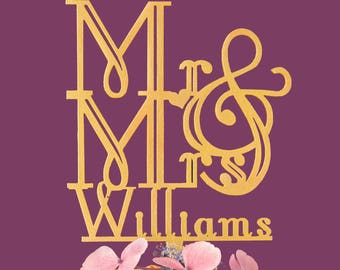Personalised Mr and Mrs Wedding Cake Topper Art Deco inspired Personalised surname custom cake topper