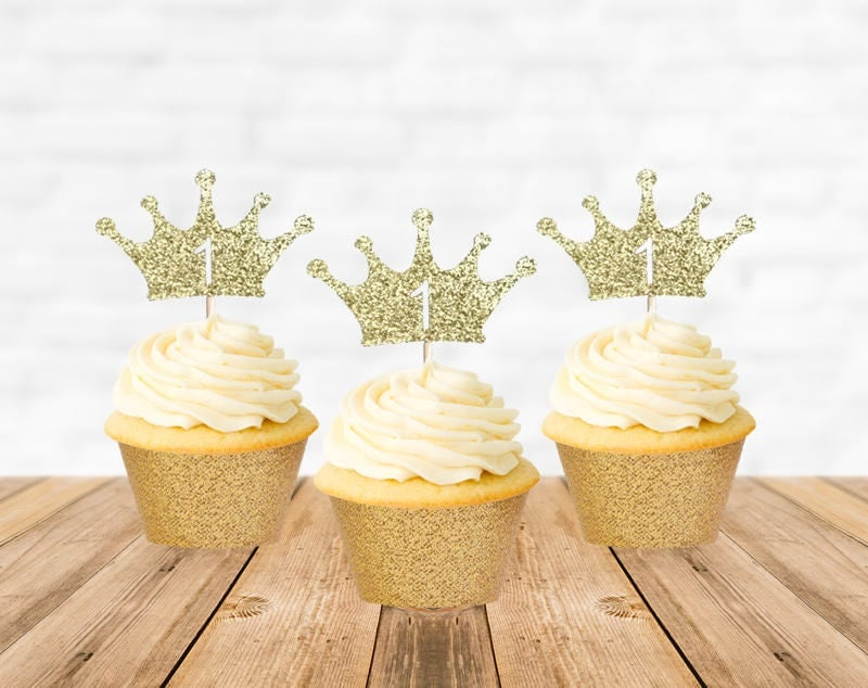 1st Birthday Cupcake Toppers First Birthday Cupcake Toppers Crown