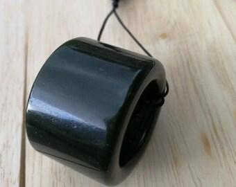 Jadeite pendant Black Natural grade A  Untreated Omphacite