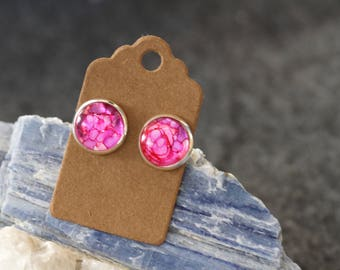 Pink earrings, hand-painted alcohol ink unique