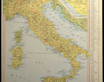 Italy Map Italy Vintage Sicily Sardinia Yellow