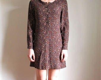 90s Vintage Gap Mini Dress Brown Floral Long Sleeve Preppy Grunge Womens XS Small