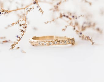 14k gold diamond encrusted twig wedding band, diamond twig wedding band, sparkly stacking band