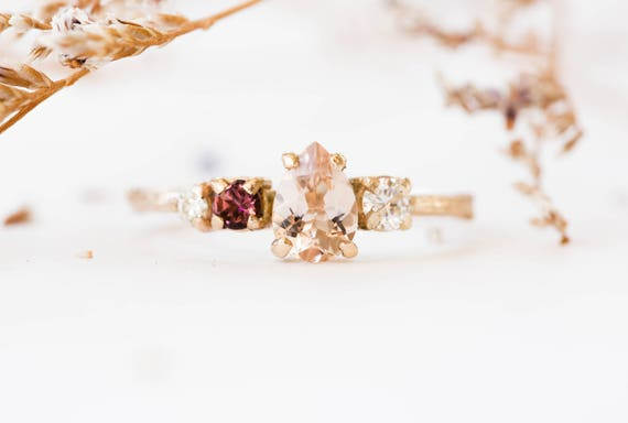 Cluster 14k gold morganite twig engagement ring, cluster engagement ring, asymmetrical morganite engagement ring, moissanite gold twig ring