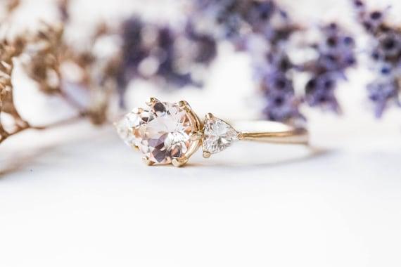 Morganite and moissanite three stone engagement ring, gold morganite engagement ring, trillion three stone ring, moissanite gold ring