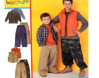McCalls 3416, Size 7-8-10-12-14-16, Boy Clothing, Loose Fit, Zip Vest, Pull On, Cargo Pants, Button Front Shirt, Children Sewing Pattern