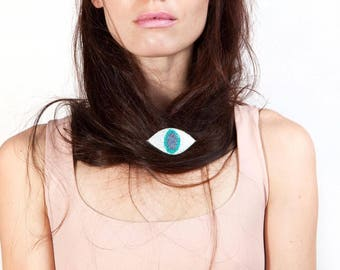 Sparkly Eye Brooch, Iridescent Evil Eye Brooch, Holographic Glitter Acrylic Laser Cut Jewelry, Dali Inspired Jewelry, Avant Garde Brooch