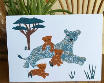 Lioness with Cubs, Lion Card, African card, Animal Card, cut paper art, nursery, kids, african art, children card