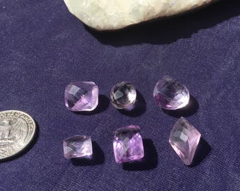 Single Piece ~ Amethyst Rare Quality 6 Natural Faceted sold Individually or all 6 with Wholesale pricing