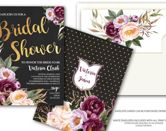 Burgundy Floral Bridal Shower Invitation / Chalkboard / Gold / Wedding / Watercolor / Purple / Pink / Flowers / Wine / FLORENCE COLLECTION