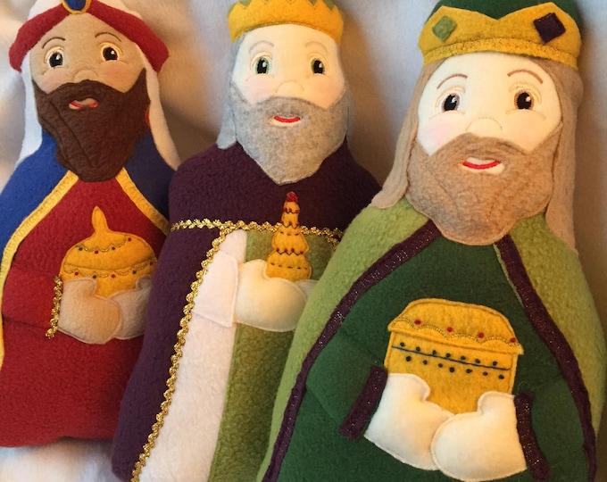 Wise Men Soft Saint Doll Set of 3, Three Kings, The Three Wise Men, Nativiy, Christmas Story Dolls.