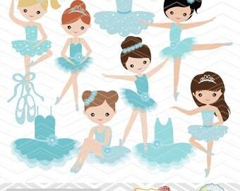 Digital Ballerina Clip Art, Ballet Clipart, Blue Ballet Girls Clip Art, Blue Ballet Shoes Clipart, Blue Ballet Dress, Ballet Dancer 00181