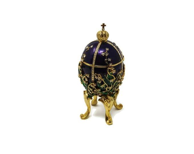 Faberge Style Egg - 1898 Lily of the Valley Faberge Egg - Keepsake Box - Jewelry Box - Porcelain Egg - Vintage Trinket Box - Easter Egg Mom