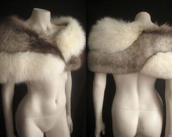 Fluffiest White Brown Twist FOX FUR CAPELET Cape Stole Wrap Shrug Bolero Coat Jacket ~ Winter Wedding ~ Luxury Bridal ~ Mink Cream