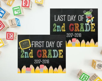 Back To School Printable - 2nd Grade Sign - First Day of School Printable - Last Day of School - First Day Chalkboard Sign PRINTABLE 8x10