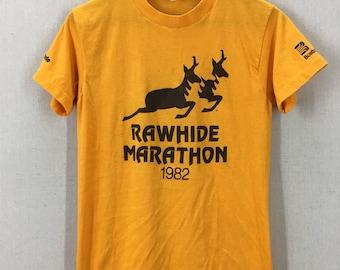 Vintage 1982 Rawhide Marathon Super Soft 50/50 Running T-Shirt Fits like a S