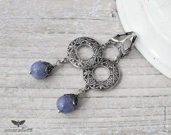 Aquamarine Earrings, Cornflower Blue and Silver Filigree Earring, Vintage Style Hoop Earrings, Gemstone Earings, Summer Jewelry, Handmade UK