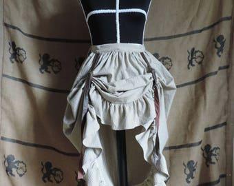 Steampunk skirt 3 ways, striped, fake leather, brown