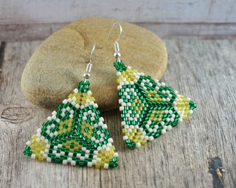 Emerald green earrings Beaded jewelry Triangle earrings Green beaded earrings Large earrings Green earrings Stylish earrings Fashion jewelry
