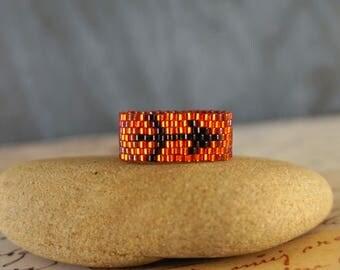 Sagittarius ring Birthday ring Zodiac ring Beaded ring Boho ring Astrology ring December birthday gift for women Red ring Seed bead ring