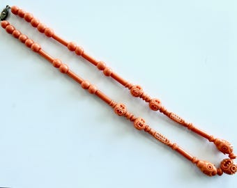 1930's Coral Celluloid Geometric Necklace
