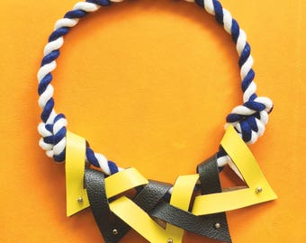 Triangle Color Block Leather Necklace