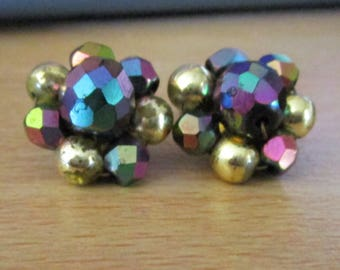 """vintage clip on earrings floral shape AB crystals.gold beads goldtone metal 1/2""""across"""