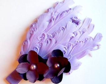Purple - Lavender - Lilac -Baby  Feather Heaband, Photo Prop,