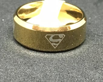 Superman DC Comics Stainless Steel Gold Band Ring